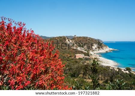 Capo Carbonara beach in Villasimius, Sardinia, Italy - stock photo