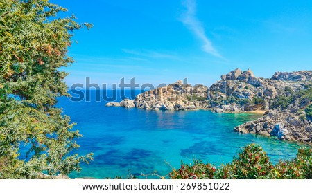 Capo Testa shoreline on a clear day. Shot in Sardinia, Italy - stock photo