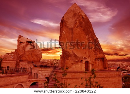 Cappadocia, Anatolia, Turkey.Goreme town cave hotels. - stock photo
