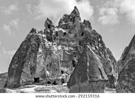 Cappadocia in Central Anatolia is a UNESCO World Heritage Site since 1985, Turkey (black and white)