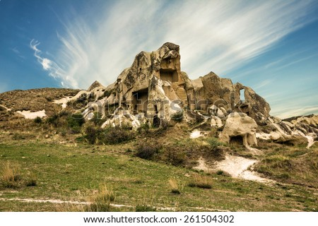 Cappadocia, Turkey. volcanic rock landscape, Goreme national park. Love valley - stock photo