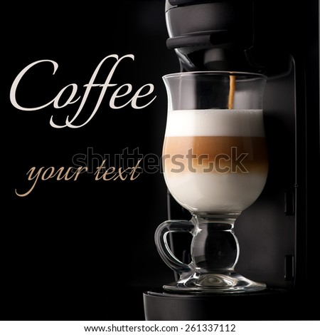 cappuccino and coffee machine with space for text - stock photo