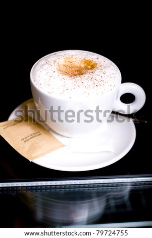 cappuccino cafe served in a restaurant - stock photo