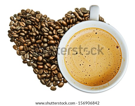 Cappuccino coffee cup and beans on a white background - stock photo
