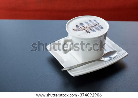 Cappuccino coffee cup ,Hot coffee in white mug - stock photo