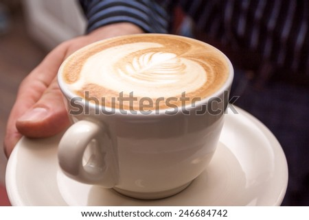 cappuccino, coffee, cup, latte, white, milk, art, brown, foam, hot, drink, breakfast, morning, cafe, espresso, background, delicious, aroma, caffeine, froth, fresh, design, food, closeup, beverage, - stock photo