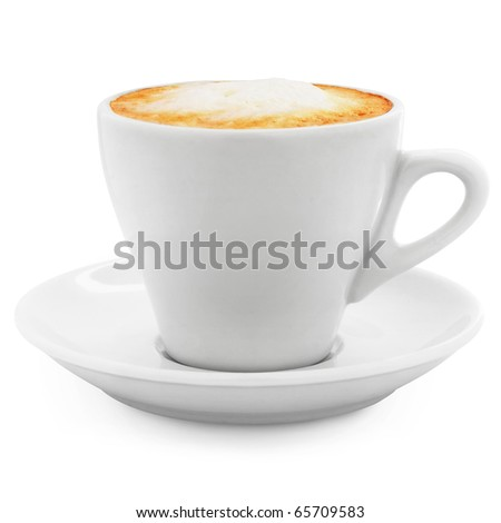 cappuccino coffee in a white cup on a white background + Clipping Path - stock photo