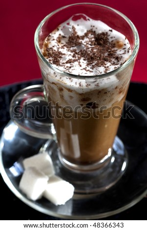 cappuccino coffee with whipped cream - stock photo