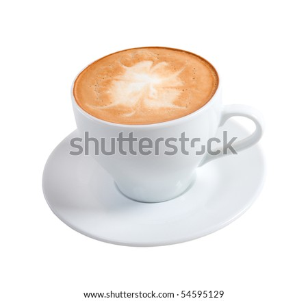 cappuccino cup.coffee on a white background (isolated with path) - stock photo