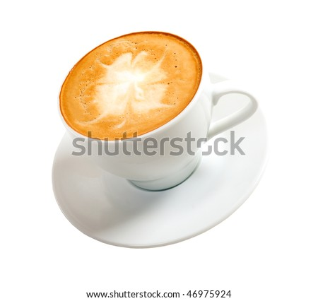 cappuccino.Cup of coffee on a white background (isolated with path).