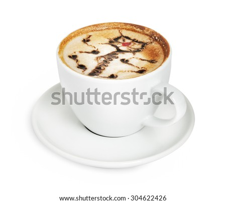 Cappuccino cup with flower art isolated on white with clipping path - stock photo