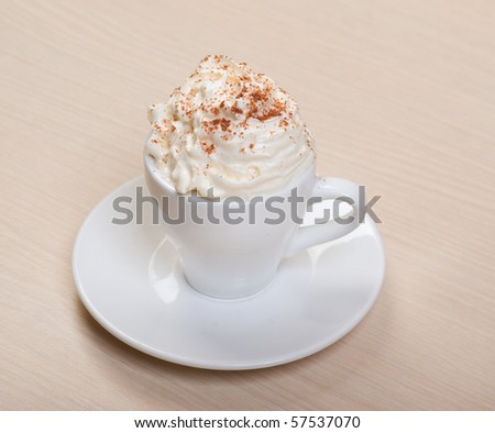 cappuccino drink with cream .Cup of coffee - stock photo