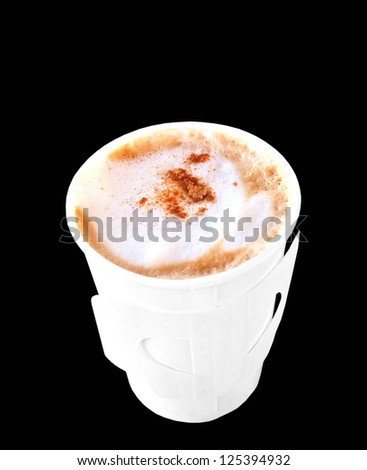 Cappuccino in take away paper cup isolated on black color, breakfast