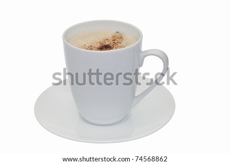 Cappuccino / latte in white cup isolated against white - stock photo