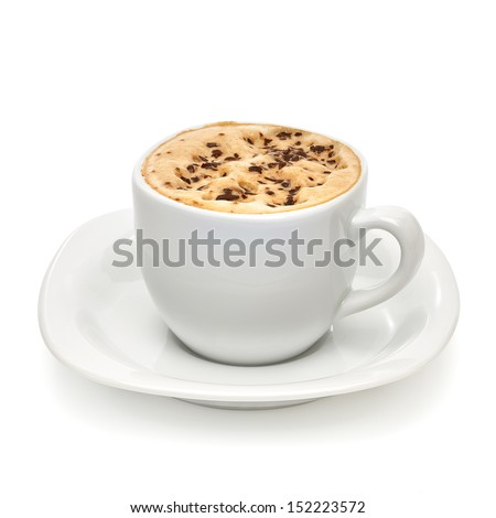 Cappuccino on white background with clipping path - stock photo