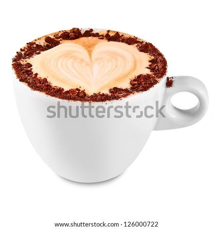 Cappuccino or latte coffee with heart shape isolated on white - stock photo