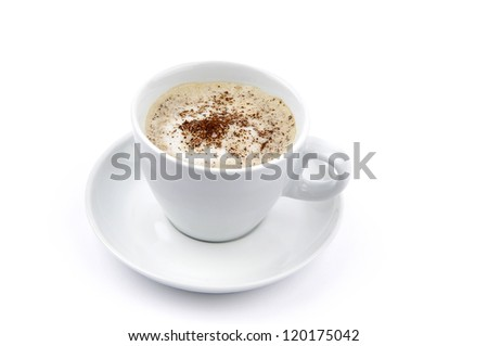 Cappuccino or latte in a white coffee cup
