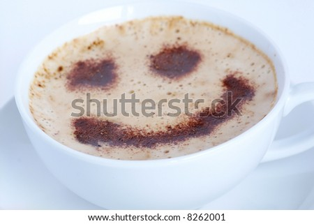 Cappuccino with chocolate smile - stock photo