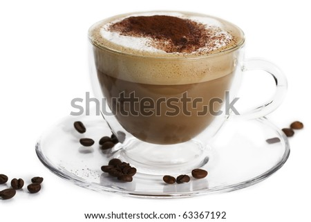 cappuccino with cocoa powder and coffee beans in a glass cup on white background - stock photo