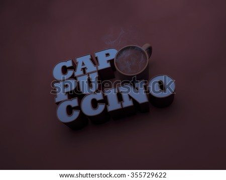 Cappuccino with cup 3d