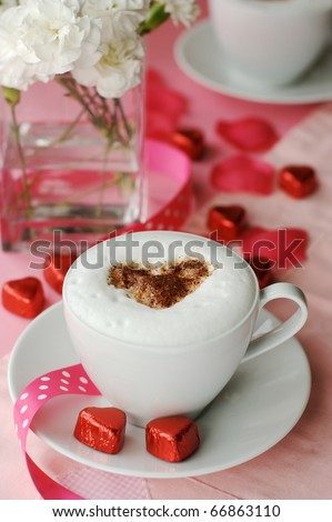 Cappuccino with heart - stock photo
