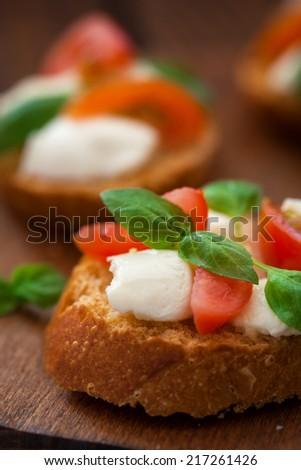 Caprese Bruschetta - stock photo