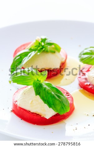 Caprese made by tofu and tomato