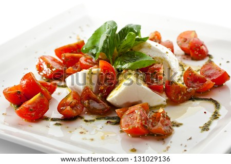 Caprese Salad - Salad with Tomatoes, Mozzarella Cheese, Balsamic - stock photo