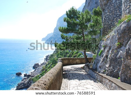 Capri island, famous via Krupp - stock photo