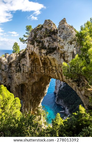 Capri island in a beautiful summer day in Italy - stock photo
