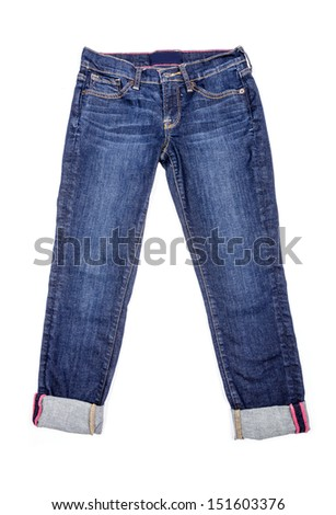 Capri Jeans Isolated on White - stock photo