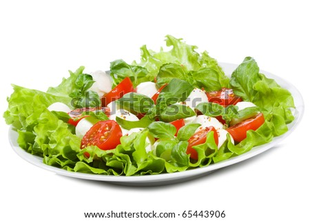 Caprice salad on white background - stock photo