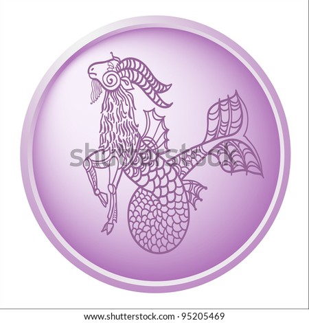 capricorn, button with sign of the zodiac - stock photo