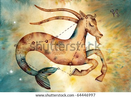 Capricorn. Logo-like Zodiac Star - stock photo
