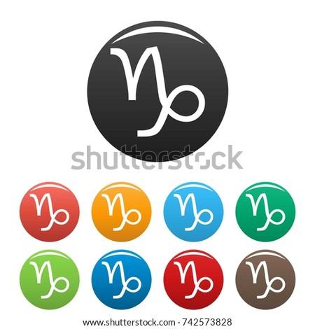 Capricorn Zodiac Sign Icons Set Simple Stock Illustration 742573828