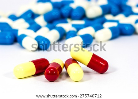capsule of medicine on white background