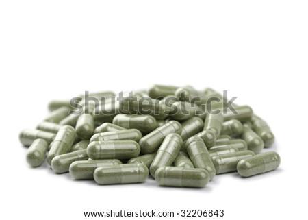 capsule pills isolated - stock photo