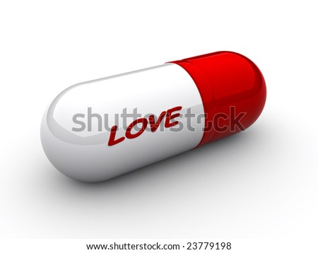 "Capsule with an inscription ""love"" close up - stock photo"