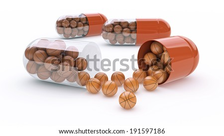 capsule with basket balls - stock photo