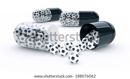 capsule with soccer balls - stock photo