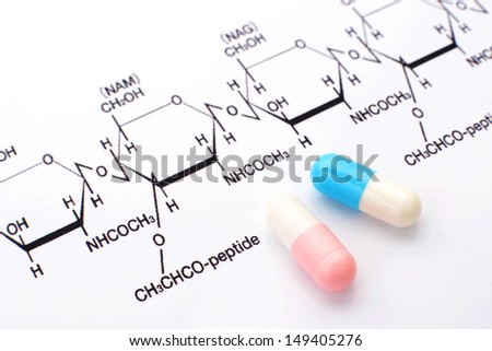 Capsules and chemical formula - stock photo