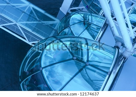 Capsules of the London Eye in blue tone - stock photo