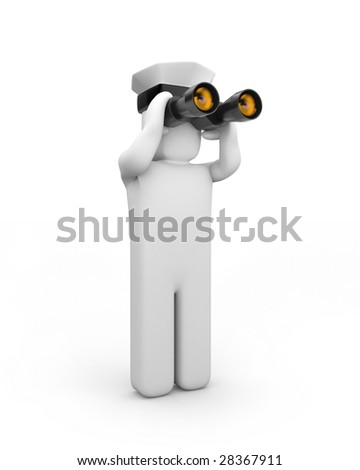 Captain looks through binoculars - stock photo