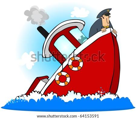 Captain Of A Sinking Ship - stock photo