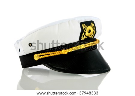 captains hat isolated on white with shadows