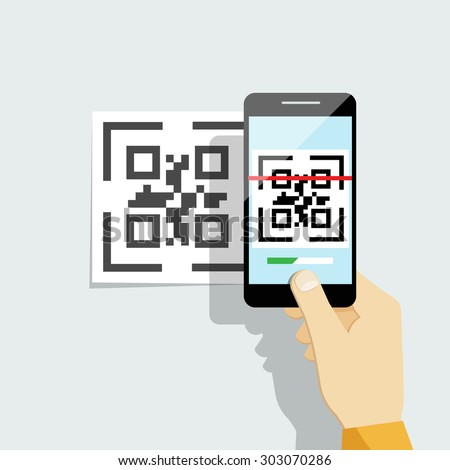 Capture QR code on mobile phone. Digital technology, information barcode, symbol electronic scan - stock photo