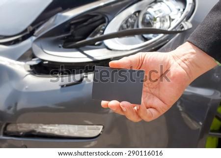 Car accident quick help - stock photo