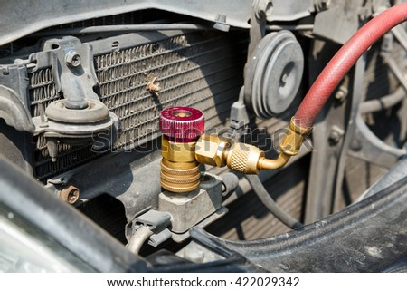 Car air conditioner check service, leak detection, fill refrigerant