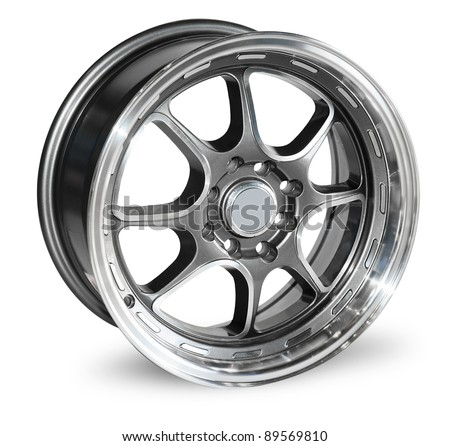 car alloy rim isolated over white. With Save path for Change the background