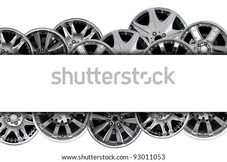 car alloy wheel background template design. isolated on white - stock photo